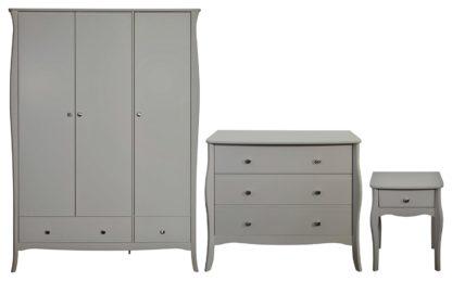 An Image of Amelie 3 Piece 3 Door 2 Drawer Wardrobe Set -Grey