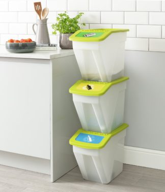 An Image of Curver 34 Litre Plastic Recycling Bins - Set of 3