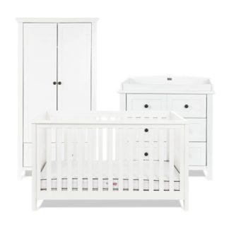 An Image of Silver Cross Nostalgia Cot Bed Dresser Wardrobe Set- White