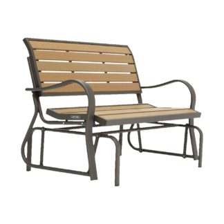 An Image of Lifetime Glider 2 Seater Metal Garden Bench - Walnut