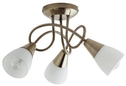 An Image of Argos Home Curico 3 Light Glass Ceiling Light -Antique Brass