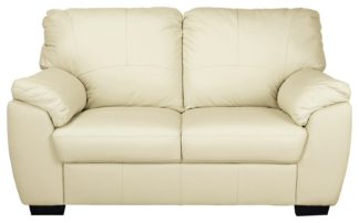 An Image of Argos Home Milano 2 Seater Leather Sofa - Ivory