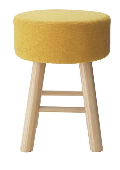 An Image of Habitat Small Fabric Footstool - Yellow
