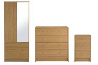 An Image of Habitat Malibu 3 Piece 2 Door Wardrobe Set - Oak Effect