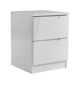 An Image of Legato 2 Drawer Bedside Table - Grey Gloss