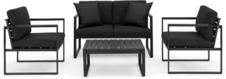 An Image of Catania Garden Lounge Set, Black and Polywood