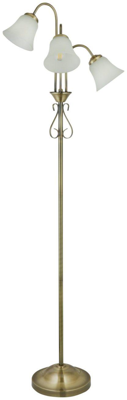 An Image of Argos Home Elisa 3 Light Floor Lamp - Antique Brass