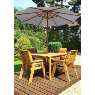 An Image of Charles Taylor 4 Seater Square Dining Set with Grey Seat Pads and Parasol Wood (Brown)