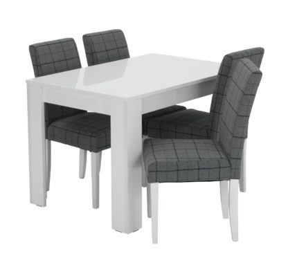 An Image of Habitat Miami White Gloss Dining Table & 4 Chairs - Blue