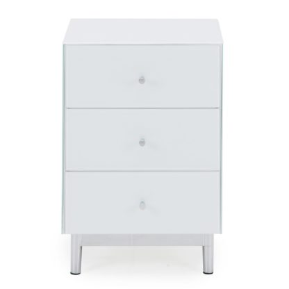 An Image of Bardoux Glass Bedside Table White