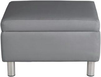 An Image of Habitat Moda Faux Leather Storage Footstool - Grey