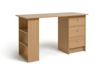 An Image of Habitat Malibu 3 Drawer Office Desk - Oak Effect