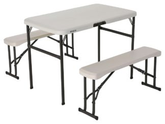 An Image of Lifetime Plastic 4 Seater Picnic Table - Almond