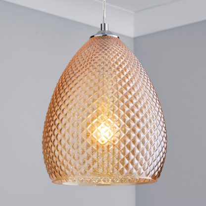 An Image of Kareli 1 Light Pendant Champagne Ceiling Fitting Champagne