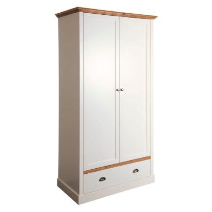 An Image of Sandringham White 2 Door Single Wardrobe White