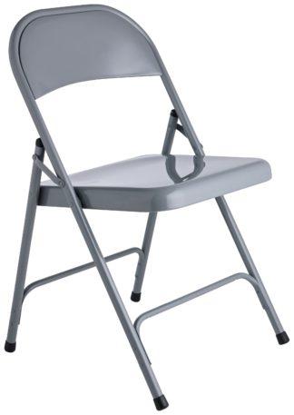 An Image of Habitat Macadam Metal Folding Chair - Grey