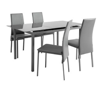 An Image of Argos Home Lido Glass Extending Dining Table & 4 Grey Chairs
