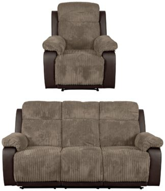 An Image of Argos Home Bradley Chair & 3 Seater Recliner Sofa - Natural