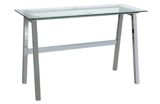 An Image of Habitat Mirano Office Desk - Clear Glass