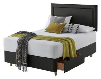 An Image of Silentnight Toulouse Small Double 2 Drawer Divan - Charcoal