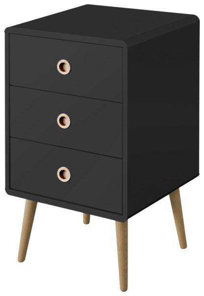An Image of Softline 3 Drawer Bedside Table - Black