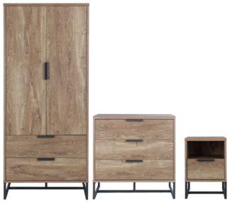 An Image of Habitat Nomad 3 Piece 2 Door Wardrobe Set - Oak Effect