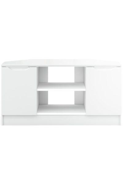 An Image of Legato Gloss 2 Door Corner TV Unit - White