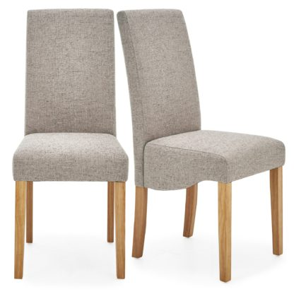 An Image of Ethan Set of 2 Dining Chairs Grey Boucle Grey