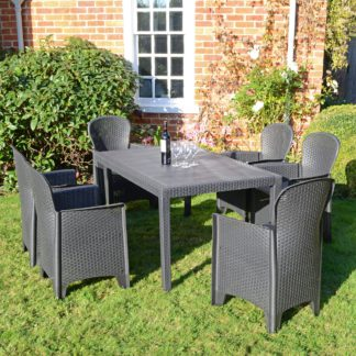 An Image of Trabella Salerno 6 Seater Dining Set with Sicily Chairs Grey