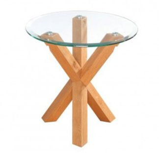 An Image of Optro Solid Oak Finish Clear Glass Top End Table