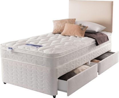 An Image of Silentnight Auckland Luxury 2 Drawer Single Divan Bed -White
