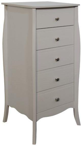 An Image of Amelie 5 Drawer Narrow Chest of Drawers - Grey