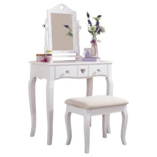 An Image of Heart Dressing Table Set White