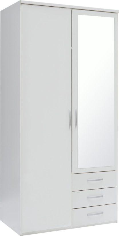 An Image of Argos Home New Hallingford 2Dr 3 Drw Mirror Wardrobe - White