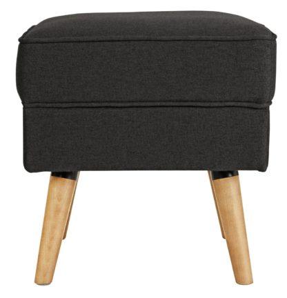 An Image of Habitat Callie Fabric Footstool - Charcoal