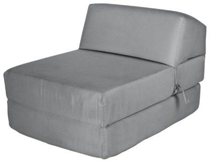 An Image of Habitat Single Cotton Chair Bed - Flint Grey