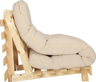 An Image of Habitat Single Futon Sofa Bed with Mattress - Natural
