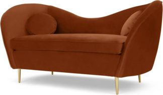 An Image of Kooper 2 Seater Sofa, Nutmeg Orange Velvet