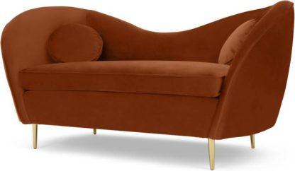 An Image of Kooper 2 Seater Sofa, Nutmeg Orange Velvet