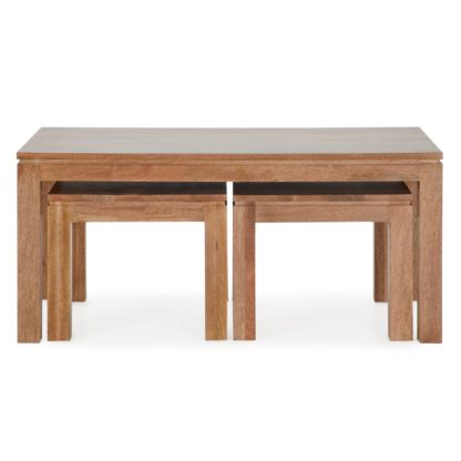 An Image of Harlam Set of 3 Coffee Tables Brown and Grey