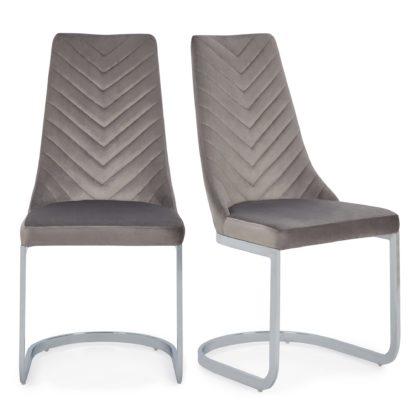 An Image of Nova Set of 2 Dining Chairs Grey Brushed Velvet Grey