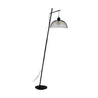 An Image of Eglo Pompeya Mesh Floor Lamp - Black