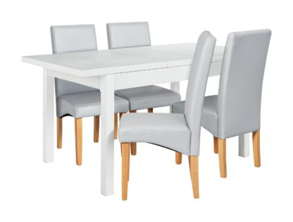 An Image of Argos Home Lyssa Wood Dining Table & 4 Skirted Grey Chairs