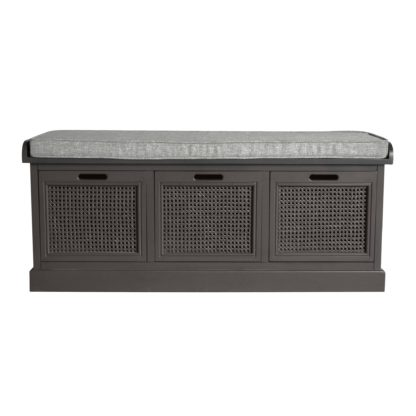 An Image of Lucy Cane Charcoal Storage Bench Dark Grey
