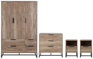 An Image of Habitat Nomad 4 Piece 3 Door Wardrobe Set - Oak Effect