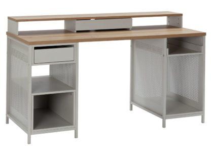 An Image of Argos Home Modular 1 Drawer Gaming Desk - Oak Effect & Grey