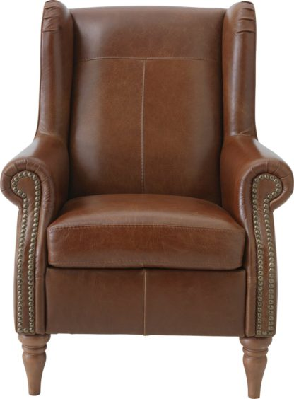 An Image of Argos Home Argyll Studded Leather High Back Chair - Tan