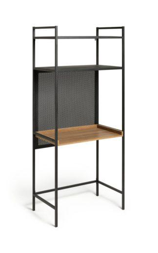 An Image of Habitat Turner 2 Shelf Office Desk - Black