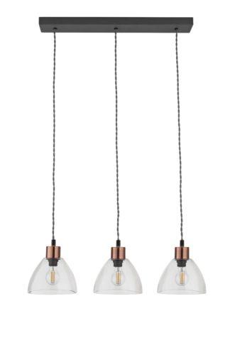 An Image of Argos Home Highland Lodge Glass 3 Light Pendant Light - Grey
