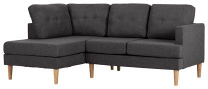 An Image of Habitat Joshua Left Corner Fabric Sofa - Light Grey